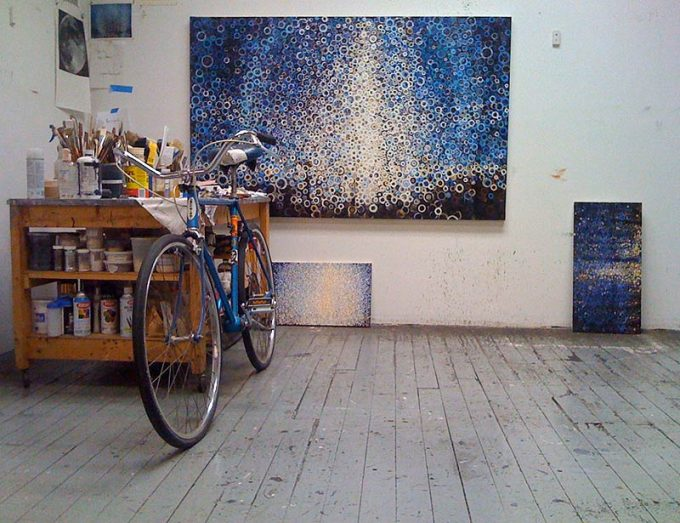 Randy's painting 'Specter' in the studio with his vintage Schwinn bicycle