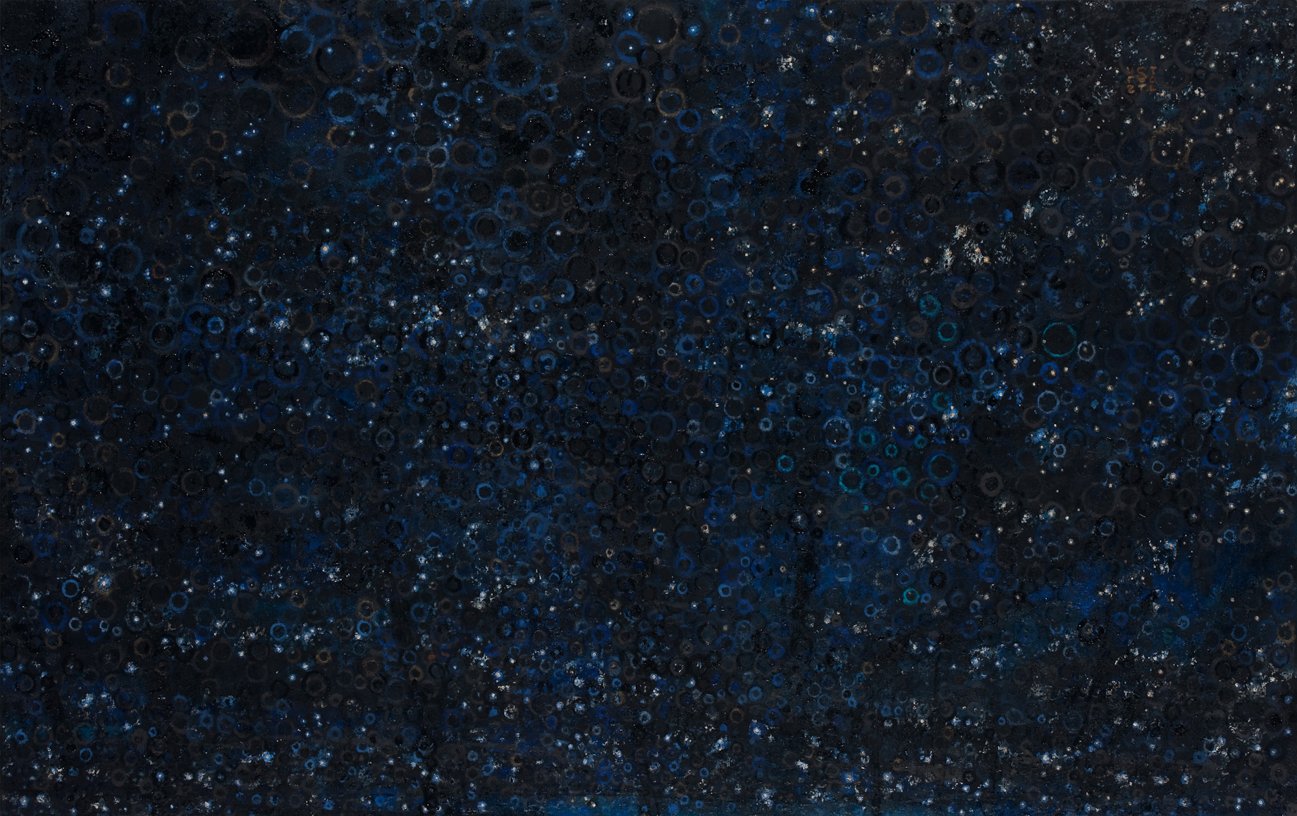 """""""Dark Sky"""" by Randall Stoltzfus, 2009, oil with gold and palladium leaf on panel, 24 by 38 inches"""