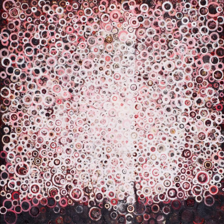 """""""Over"""" by Randall Stoltzfus, 2011, oil and gold leaf on linen, 36 inches square"""