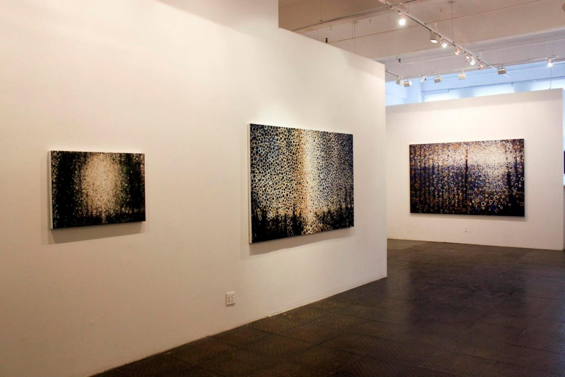 Installation view of paintings by Randall Stoltzfus in the exhibit Backlight at Blank Space gallery in Chelsea