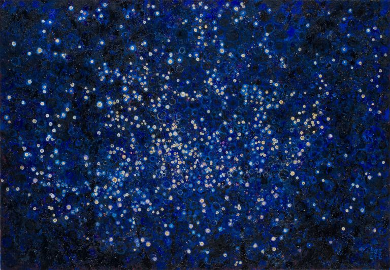 """Deep Blue and flecks of 24K gold leaf that stand in for stars 