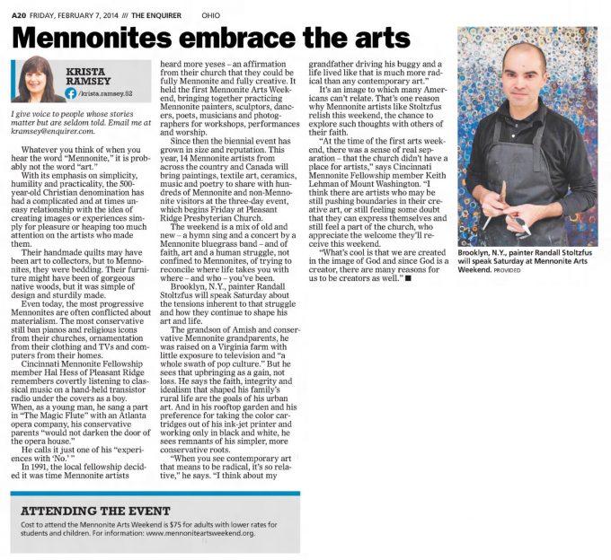 Mennonites Embrace the Arts 2 7 14