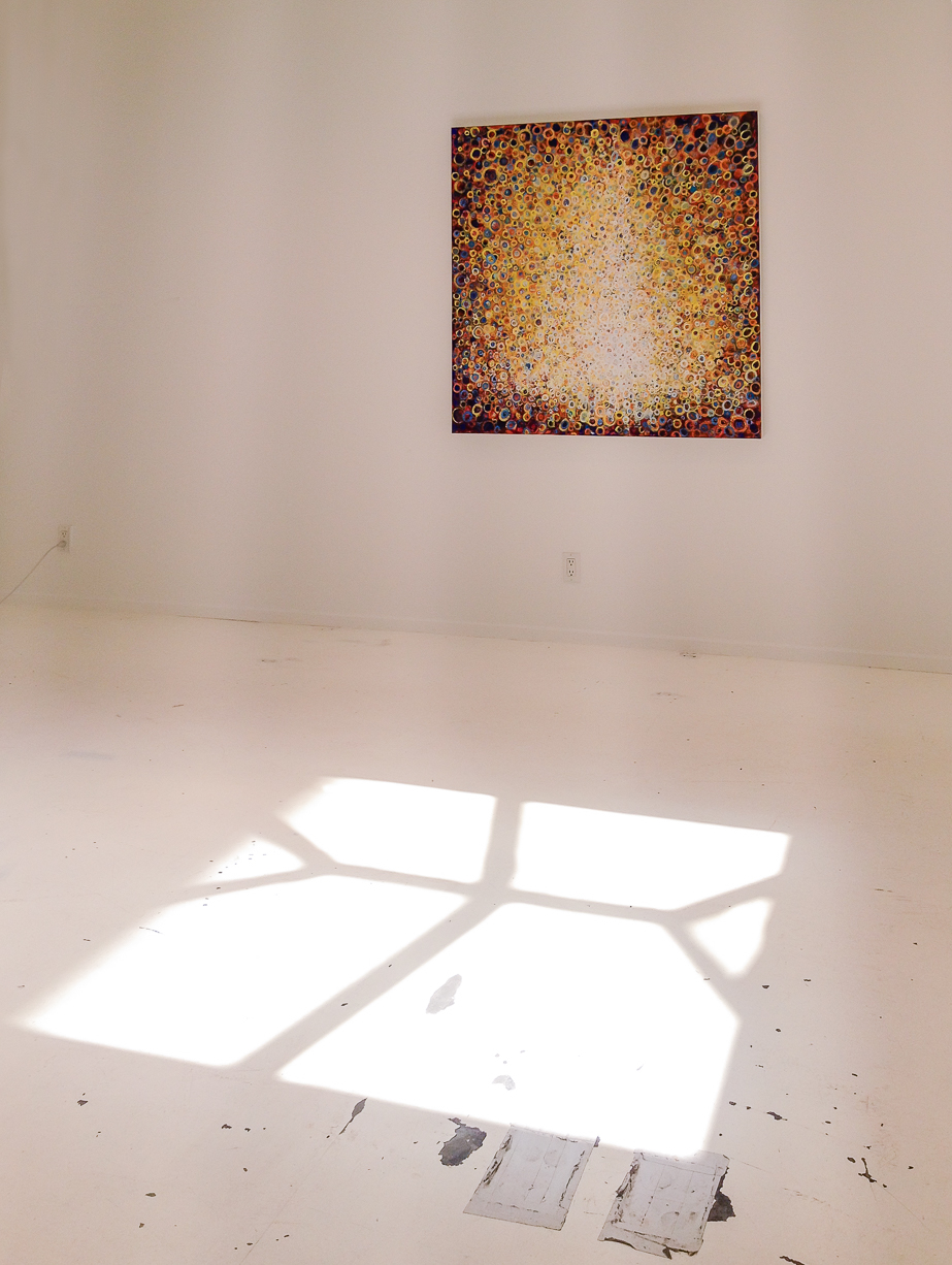 New painting by Randall Stoltzfus titled Peal floats above a sunbeam