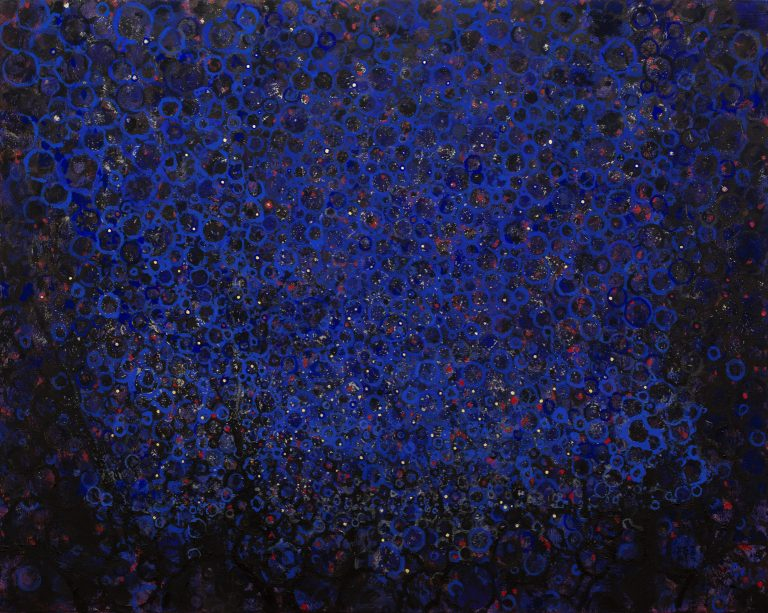 """""""Sidereal"""" by Randall Stoltzfus. 2014, Acrylic dispersion with gold leaf on recycled polymer, 48 by 60 inches."""