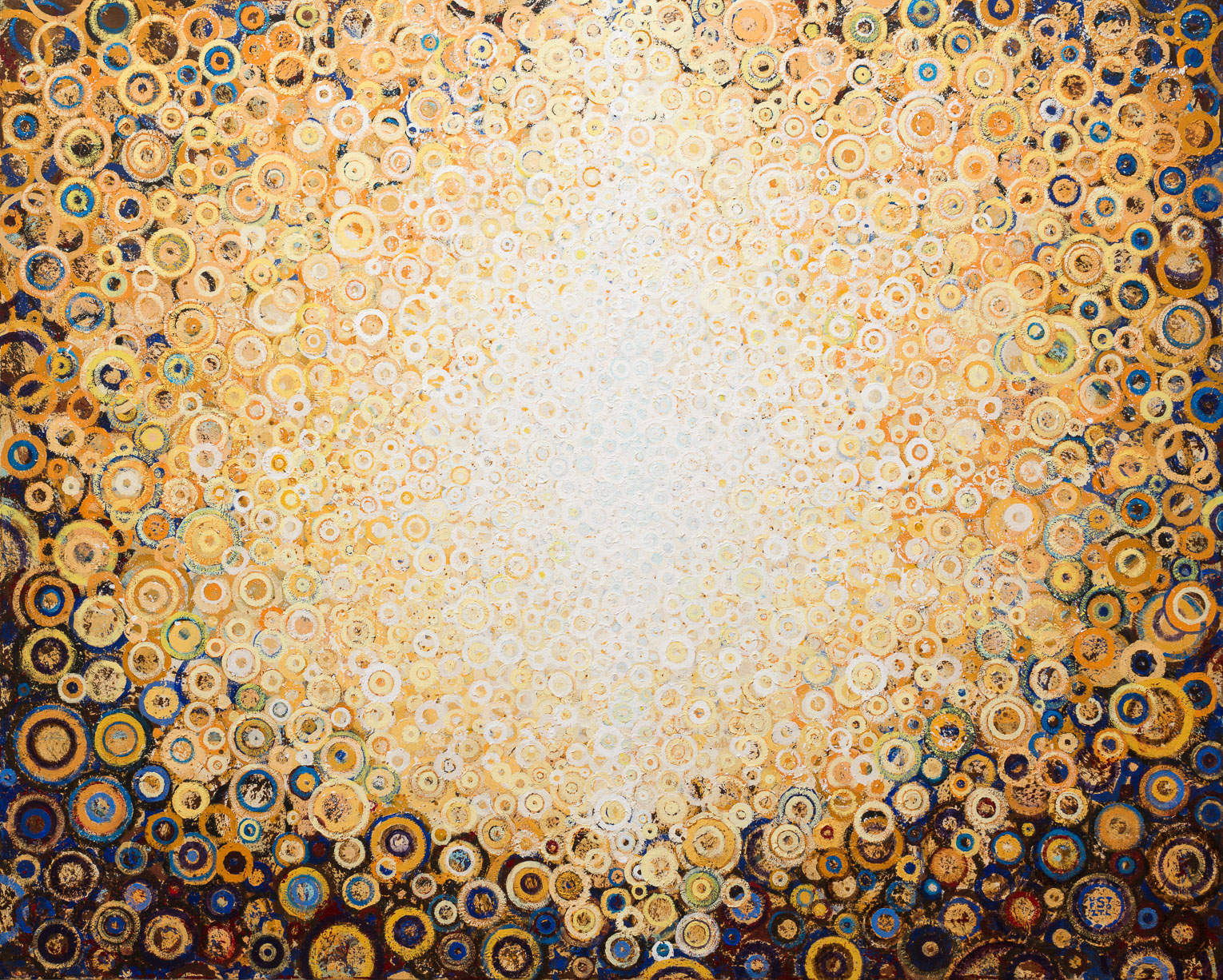 """""""Rajah"""" by Randall Stoltzfus. 2015, acrylic dispersion on polymer canvas, 48 by 60 inches"""