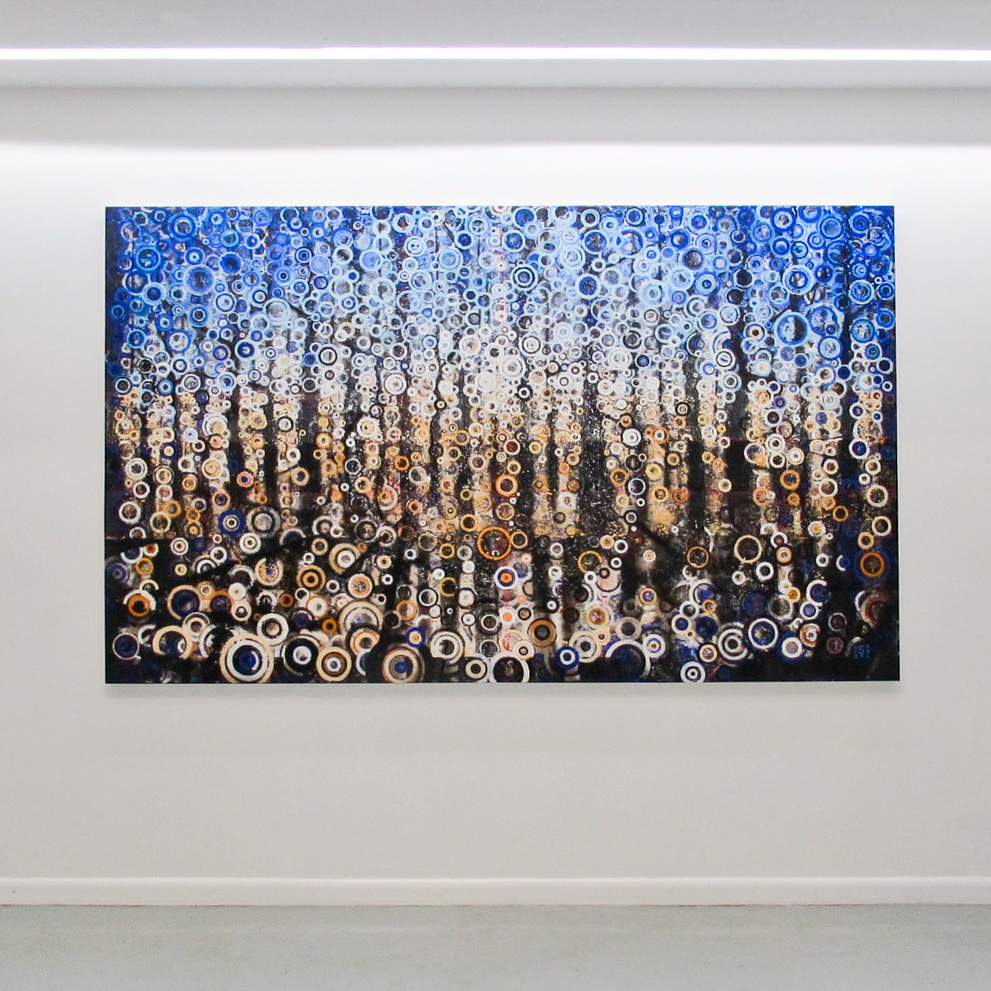The painting 'Sightline' by Randall Stoltzfus hangs on gallery wall
