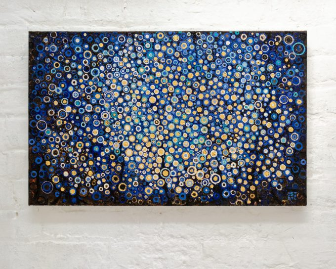 Blue and Gold   This ultramarine blue and gold leaf painting is composed many hand painted circles evocative of a summer night   The oil painting titled Vigil by Randall Stoltzfus on studio wall