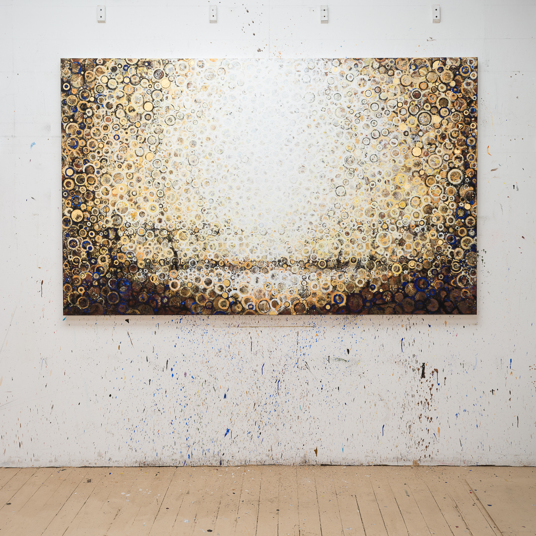 """Twice Born"" by Randall Stoltzfus hangs in sunlight on the studio wall in Brooklyn"