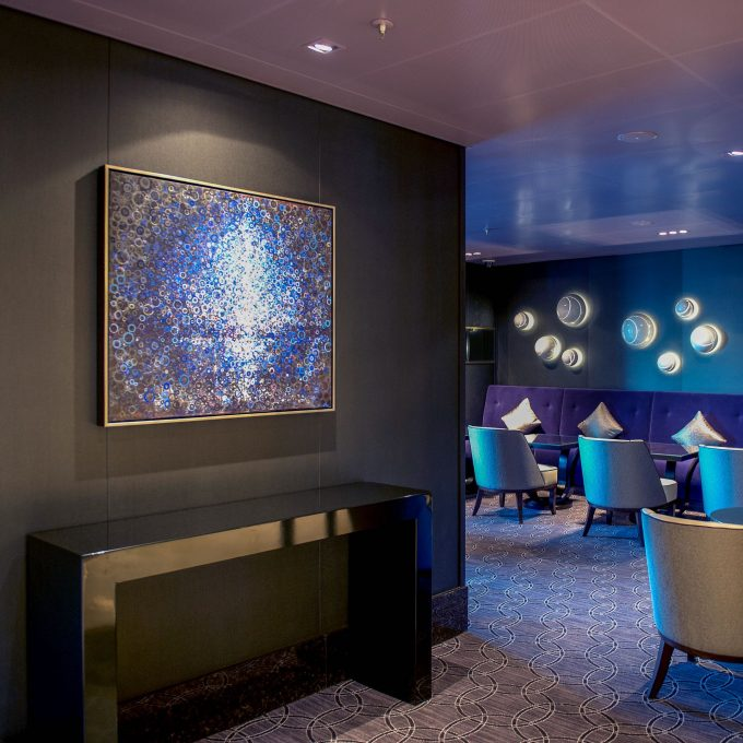 """The painting """"cove"""" by Randall Stoltzfus installed aboard p&o cruises Britannia"""