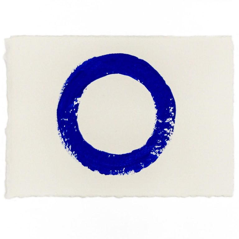 Imperfect Circle | Hand painted 5 by 7 inch blue circle by Randall Stoltzfus