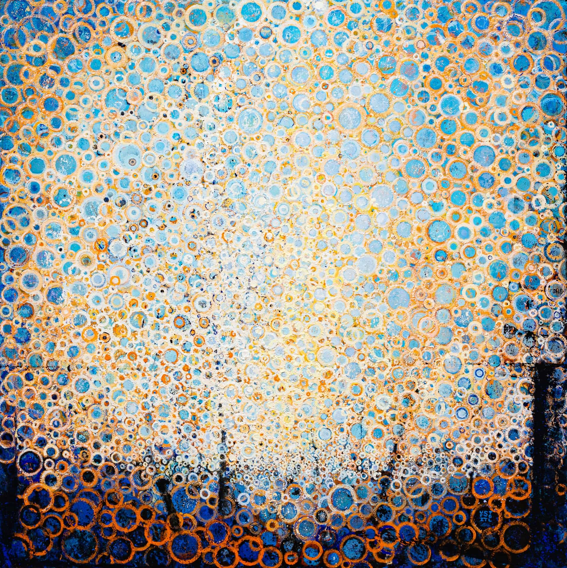 Early Morning Sunlight | vibrant orange and blue hand painted circles radiate lgiht in this painting titled Daylight by Randall Stoltzfus | 48 inches square | Acrylic dispersion on recycled polymer canvas
