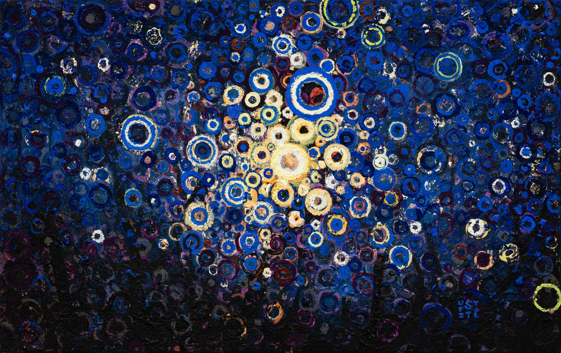 Gently Sparkling   Inspired by Traditional Japanese Sparklers called Senko Hanabi   Old Light by Randall Stoltzfus   12 by 19 inches   Acrylic dispersion on polymer canvas