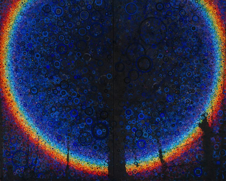 A vivid spectral rainbow of hand painted circles forms a hlo around a shadowy tree-form in this dark, large scale canvas painted by brooklyn artist Randall Stoltzfus
