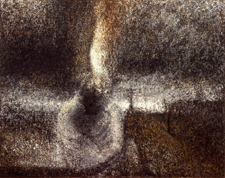 Created during a residency at an Italian madhouse, the Painting 'Pentecost' by Randall Stoltzfus is intensely layered with staccato brush marks in black, umber, and ochre earth tones
