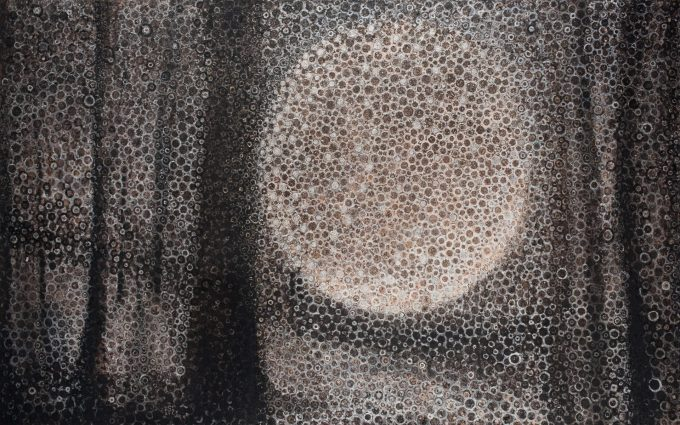 """""""Penumbra"""" by Randall Stoltzfus, 2009, oil, iridescence, and palladium leaf on canvas, 60 by 96 inches"""