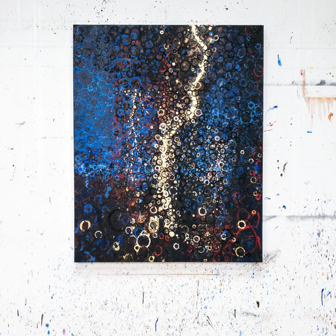Rainmaker by Randall Stoltzfus on the wall of the artist's Brooklyn studio