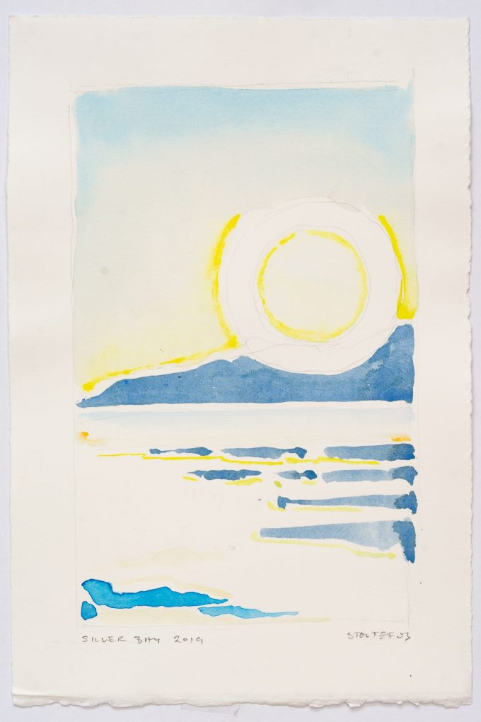 Sunrise over Silver Bay at Lake George, NY | Silver Bay 2019 S5 by Randall Stoltzfus | Watercolor on paper, 11 by 7.5 inches