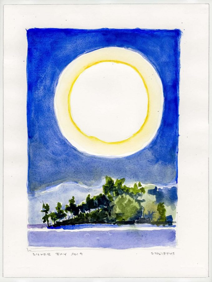 Sunlight over Lake George | Silver Bay 2019 L3 | Watercolor painting by Randall Stoltzfus