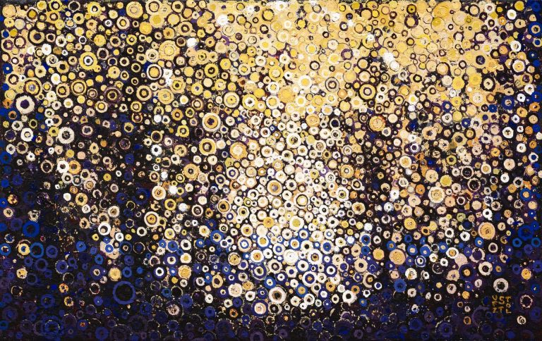 Walking in the Woods in the Evening | Ochre, gold leaf and cobalt violet deep circular brushstrokes vibrate against an enigmatic landscape in this painting titled Through by Randall Stoltzfus | 12 by 19 inches | Acrylic dispersion, iridescence, and gold leaf on polymer canvas