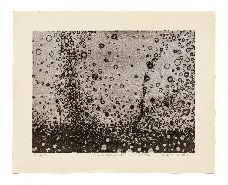 """Rich carbon black ink is layered over a hand-laid metal leaf background in the limited edition print """"Wanderer, 1st State"""" by artist Randall Stoltzfus"""