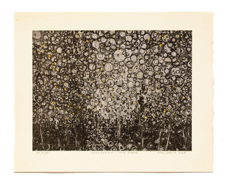 """Silver Leaf and Carbon black digital hybrid print by Randall Stoltzfus titled """"Wanderer 3rd State"""". This is print number 14 out of an edition limited to 15"""