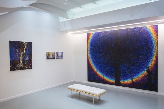 The paintings Rainmaker, Through, Held, and the 8 by 10 foot painting Omega hang at Blank Space Gallery for Randall Stoltzfus' 2019 solo exhibit Widening